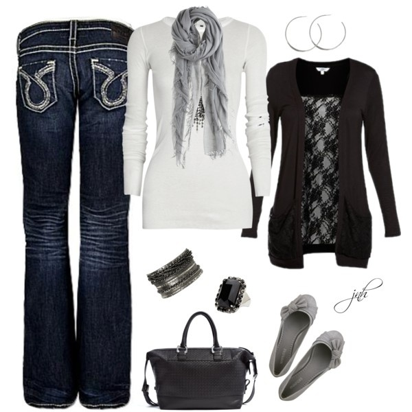 : Black Gray, Fall Style, Black Lov, Fall Wins, Fall Outfits, Black White, Black Grey, Grey Scarf, Black Tops