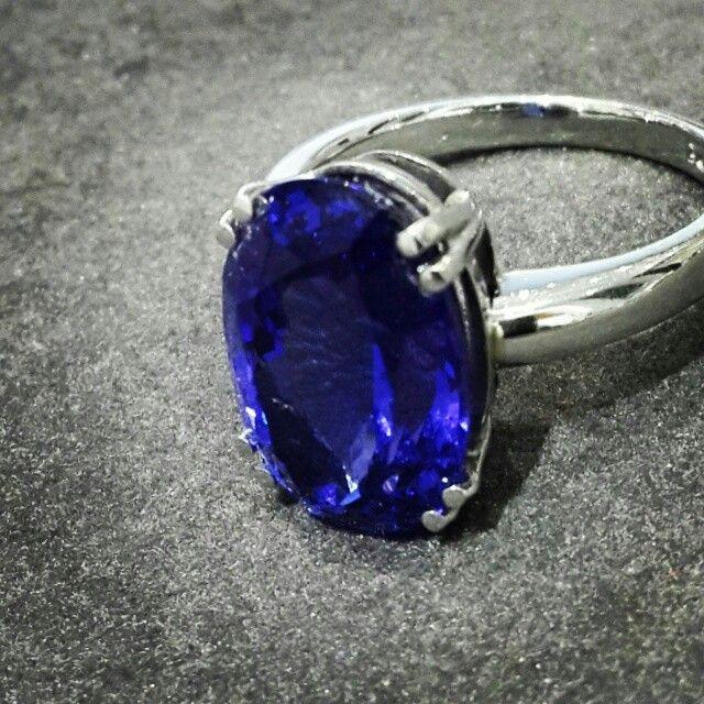 Africn - Tanzanite - Platinum  6.3ct Oval Cut Tanzanite in a Handcrafted Platinum Ring.   #tanzanite #Platinum #handcrafted #africn