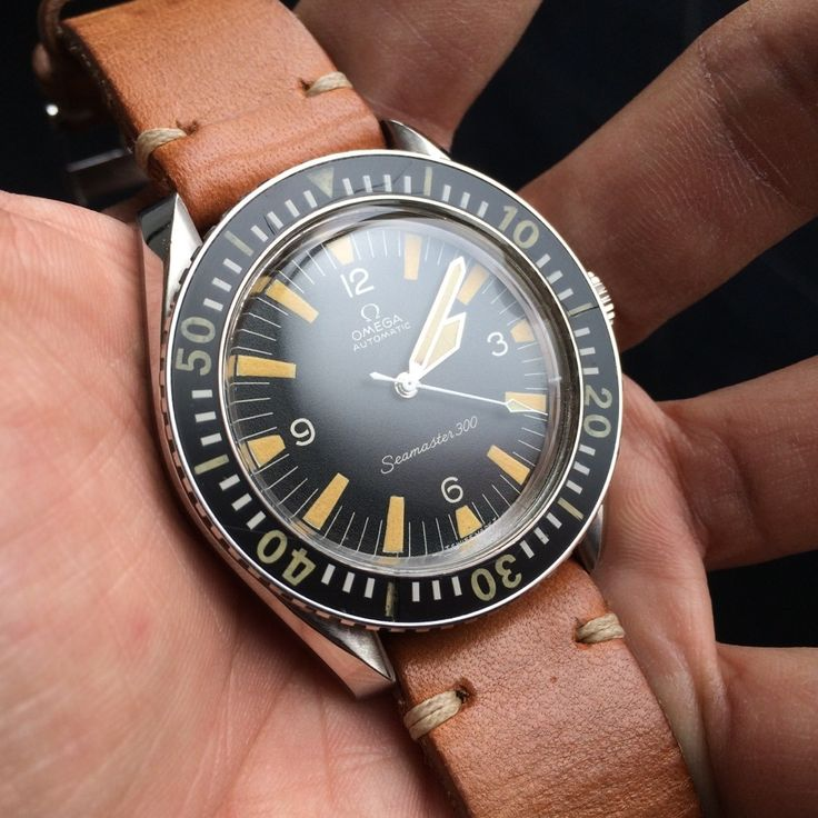 Superb Vintage OMEGA Seamaster 300 Diver In Stainless Steel On Shell Cordovan