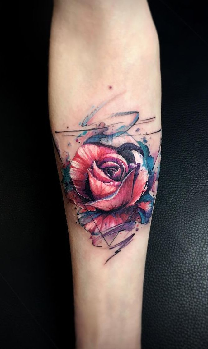 Abstract Rose Tattoo C Tattoo Artist Vlad Tokmenin Rose Tattoos For Men Pink Rose Tattoos Pink Tattoo