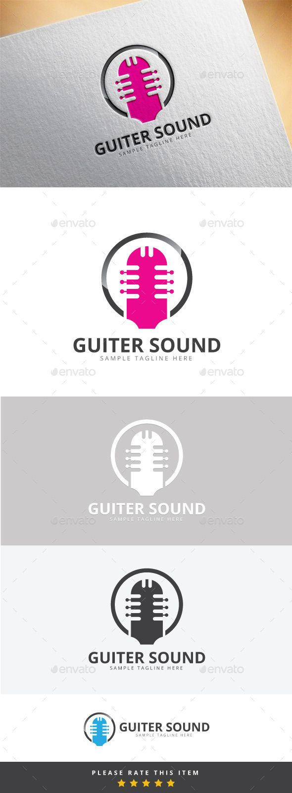 Guiter Sound Logo — Vector EPS #symbol #icon • Available here → https://graphicriver.net/item/guiter-sound-logo/10169814?ref=pxcr