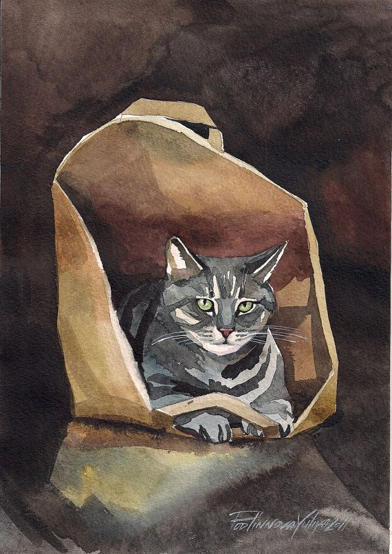 Tabby Cat Print of Watercolor Painting Grey by creativeartistic