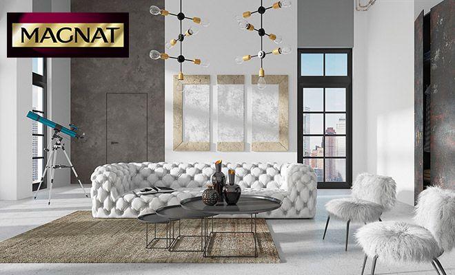 Tynk Beton MAGNAT Style do dekoracji ścian w salonie #betonmagnat #masadekoracyjna #betonwsalonie #betonowasciana #aranzacje