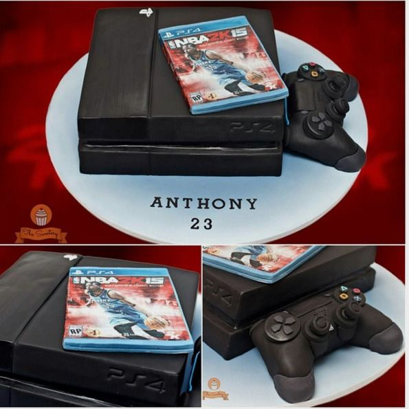 "The Sweetery on Instagram: ""PS4 birthday cake for @mrsengco Anthony. It was true to size to an actual PS4 console. Everything was edible. The game case cover was edible-printed on wafer paper, and the controller was made of rice krispies covered with fondant. #thesweeteryph #cake #cakes #cakestagram #cakeporn #ps4cake #ps4 #playstation4 #playstation #nba2k15 #birthdaycake"""