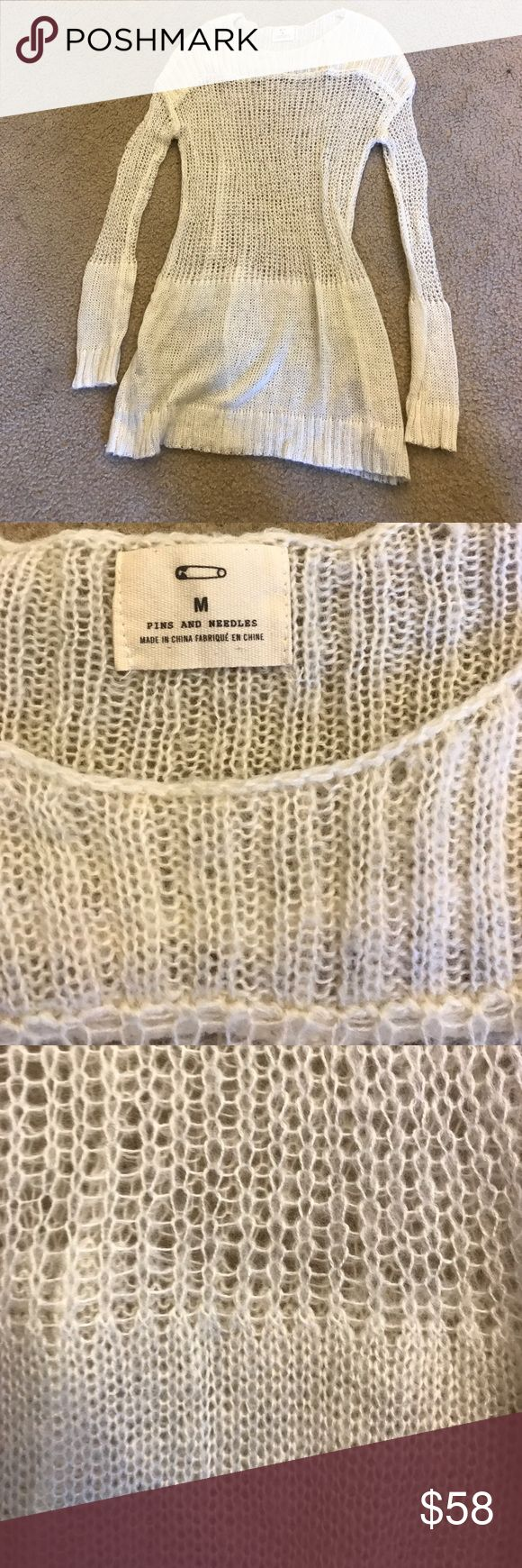 """Beautiful urban outfitters loose knit sweater Great ultra light summer sweater. Hardly worn, very soft and comfy. Pins and needles purchased from urban outfitters. I'm 5'11"""" and it covers my butt sometimes I wear it as a dress with a slip underneath Pins and Needles Sweaters Crew & Scoop Necks"""