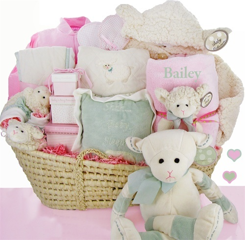 79 best baby shower gift baskets images on pinterest baby personalized lamby love moses gift basket at bunnyberry negle Images