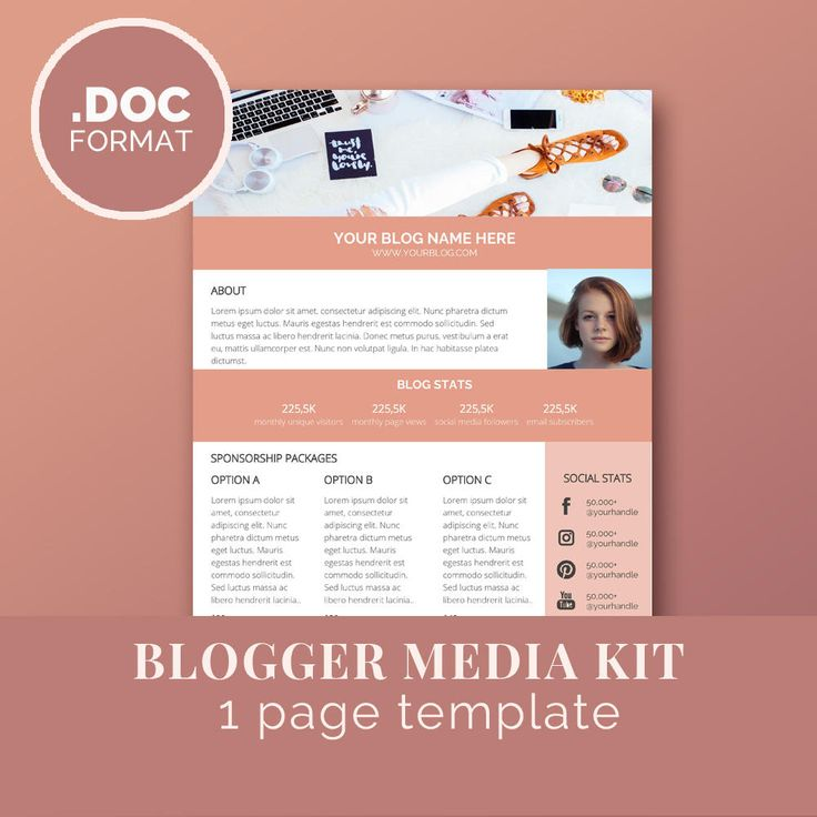 Blogger Media Kit Template / Blog Marketing Kit / Word /Press Kit Template / Sponsorship / A4 & US letter size by JKBlogBrand on Etsy