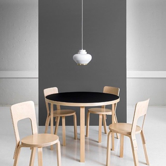 """Artek Table 90A, Chair 66 and Pendant Light A333. Alvar Aalto. Photo @artekglobal #artek #anibou"""