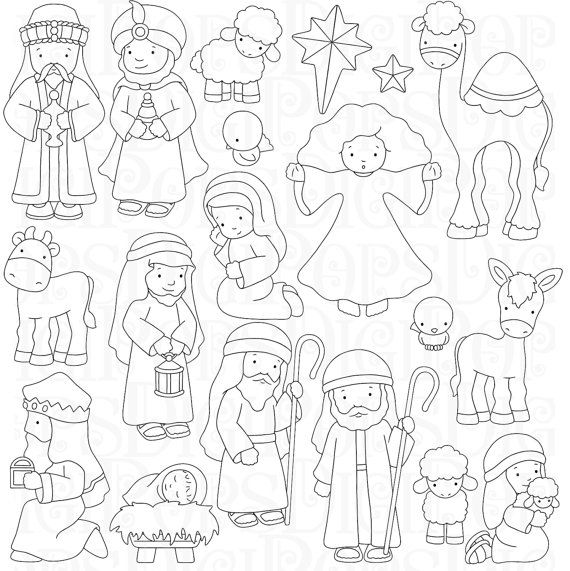 Nativity Digital Clip Art Set and Coloring Pages por DigiPops