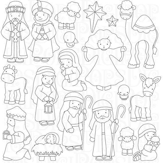 Nativity Digital Clip Art Set and Coloring Pages por DigiPops