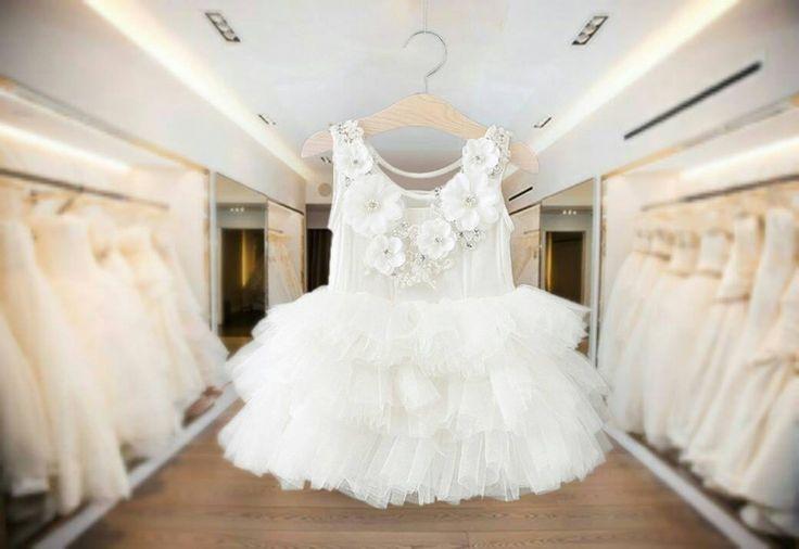 Girls Flower Girl Dress Girls Party White Special Occasion Wedding Christening Baptism dress by IzaraDesigns on Etsy