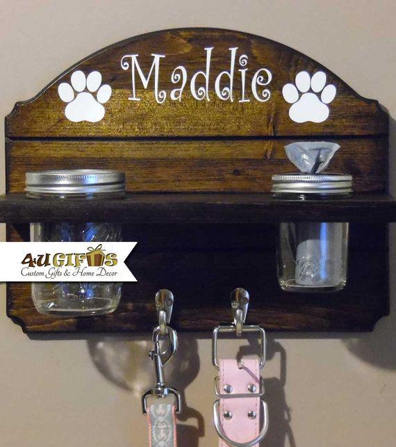 Dog Leash Holder, Mason Jar Treat Holder, Poop Bag Dispenser, Pet Gift, Personalized Gift, Home Organization, Pet Leash Hanger, Waste Bags