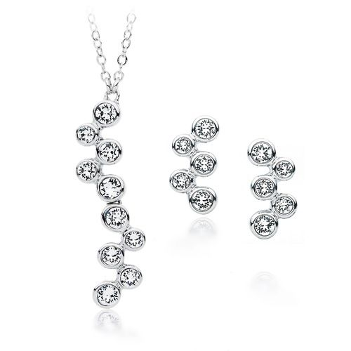 Fidelity Clear Crystal Necklace & Earrings Set