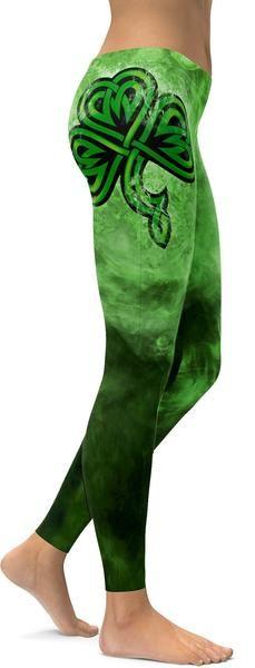 Irish Smoking Shamrock Leggings - GearBunch Leggings / Yoga Pants