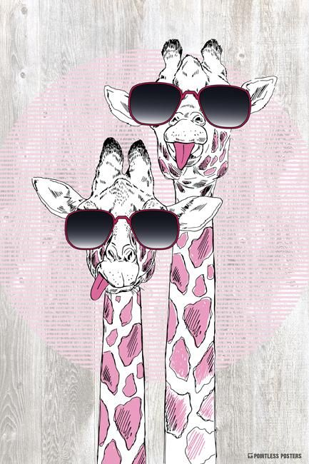 5452ea89113 Giraffes With Sunglasses Poster