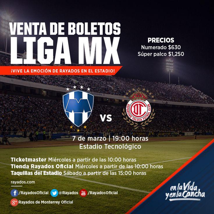 ¡Hoy ven al estadio y apoya a los #Rayados en su partido de la Jornada 9! Boletos disponibles en la #TiendaRayados Oficial, Ticketmaster y Taquillas del Estadio. #VamosRayados  Localidades disponibles: Numerado $630 y Súper palco $1,250  -