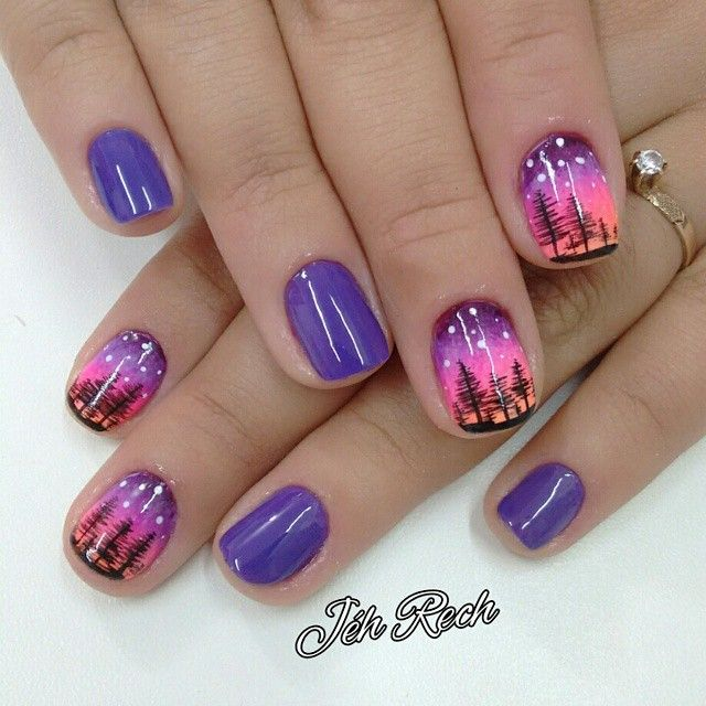 Evening Silhouette Evergreen Trees nail art design