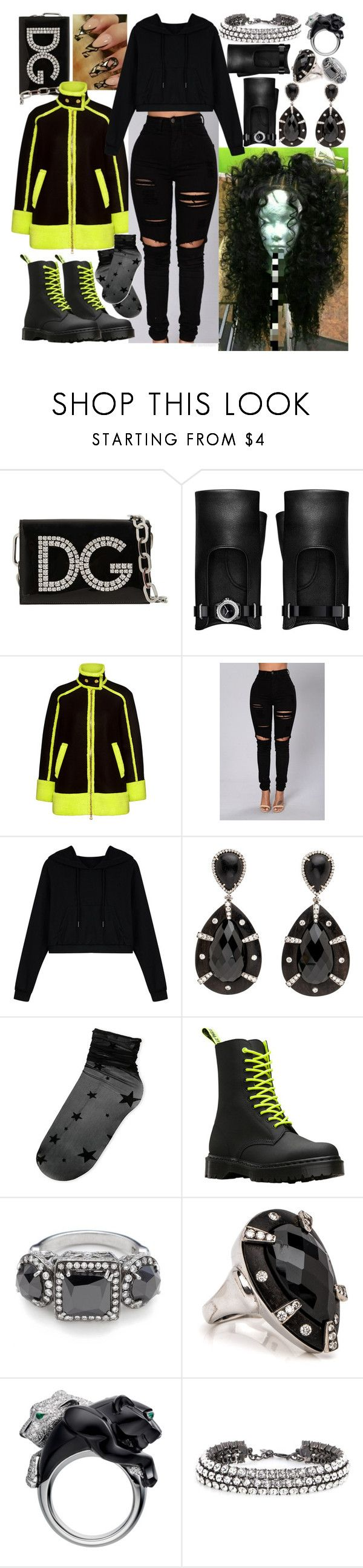 """""""My color"""" by goodgirldeja ❤ liked on Polyvore featuring Dolce&Gabbana, Chanel, Boutique Moschino, WithChic, Steve Madden, Dr. Martens, Oscar de la Renta and allblackoutfit"""