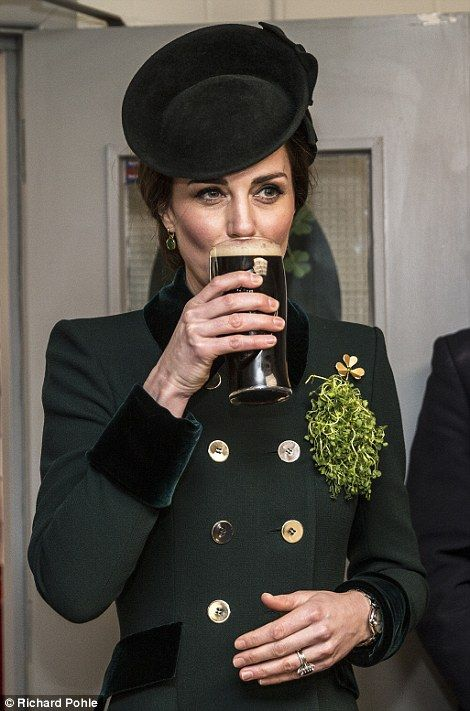 The Duchess of Cambridge takes a drink of Guinness