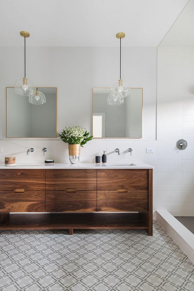 Walnut Bathroom Vanity Modern Bathroom With Mid Century Inspired Walnut Bathroom Vanity Walnut Bathroom Modern Bathroom Modern Bathroom Vanity Bathroom Trends