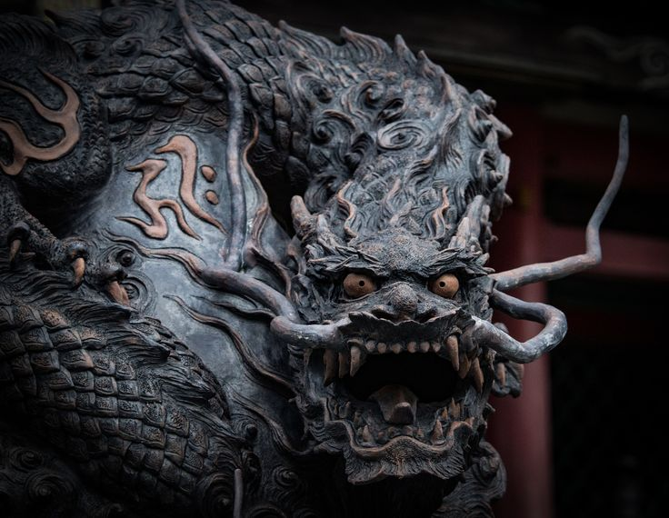 Hear me Roar! - A stone dragon in front of a temple