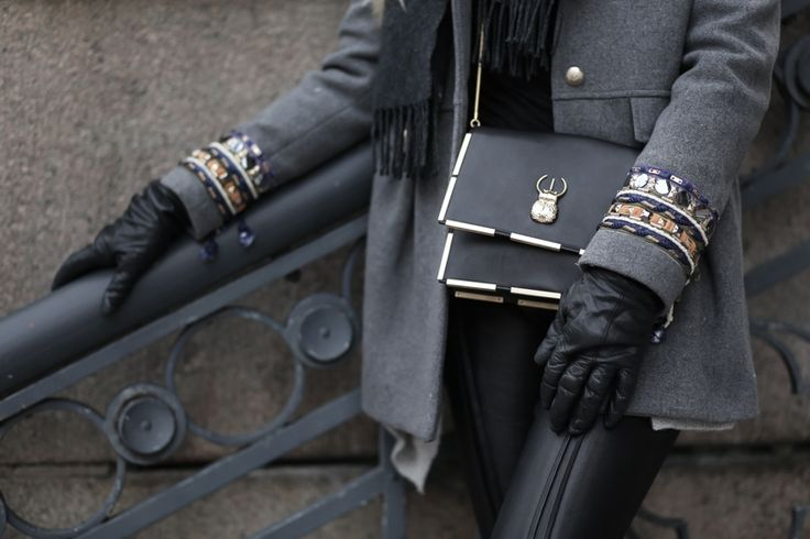 Marja Kurki BLISS leather bag with gold toned details on Blond Rivets blog. A monotone outfit gets attitude with the right accessory!