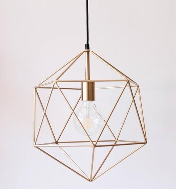 Gold Pendant Light Chandelier Lighting Geometric Polyhedron