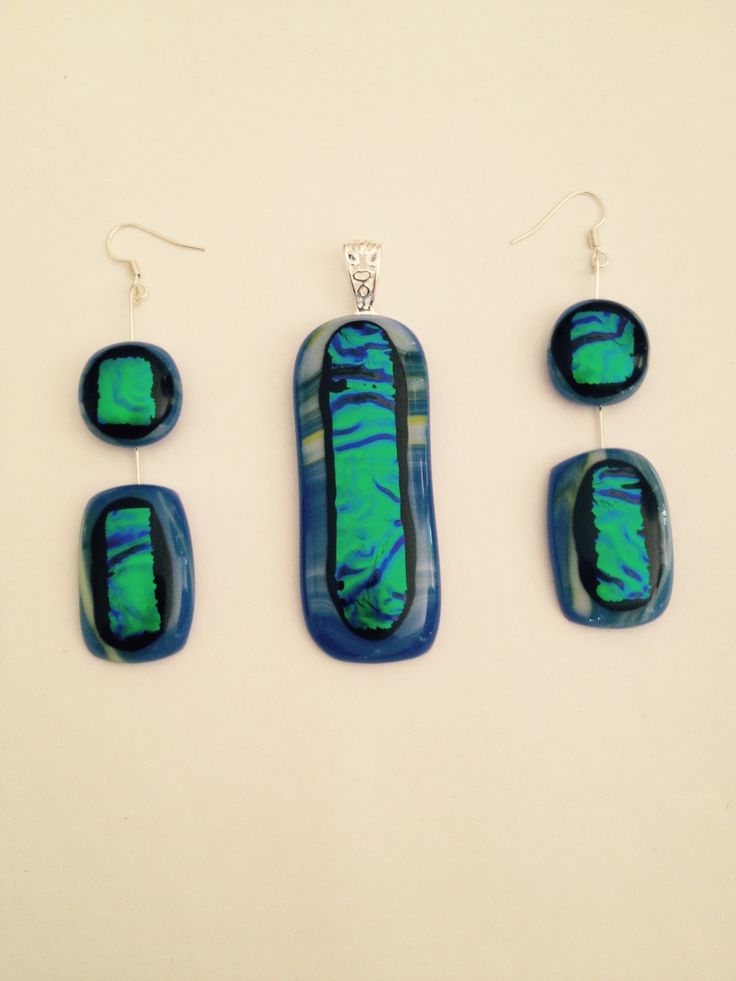 Three pice dichroic glass jewellery set. Artwork title: Follow the river.  Inspired by the Mandurah Estuary...