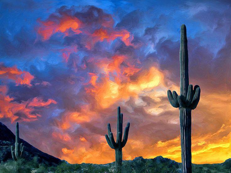 Arizona Desert Sunset Painting - Arizona Desert Sunset ...
