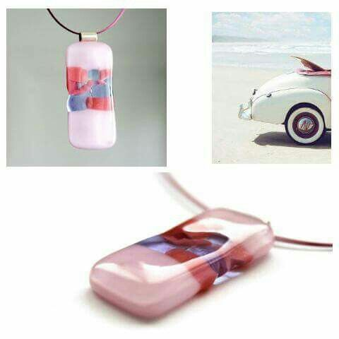 """Pink fog"" fused glass pendant by baska.design https://www.facebook.com/baska.ekszer/ #summer #beach #love #pink #pendant #medal #necklance #rose #sea #contemporary #contemporaryjewelry #kirándulás #trip #holiday"