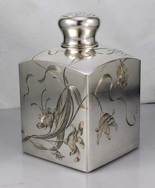 Russian Art Nouveau Silver Tea Caddy, early 1900s