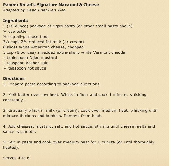 Paneras Mac and Cheese