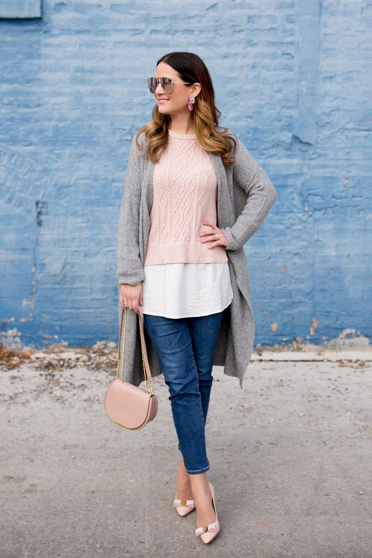 Pink Layered Cable Knit Sweater