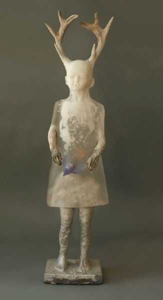 Christina Bothwell's translucent glass sculpture of girl with antlers