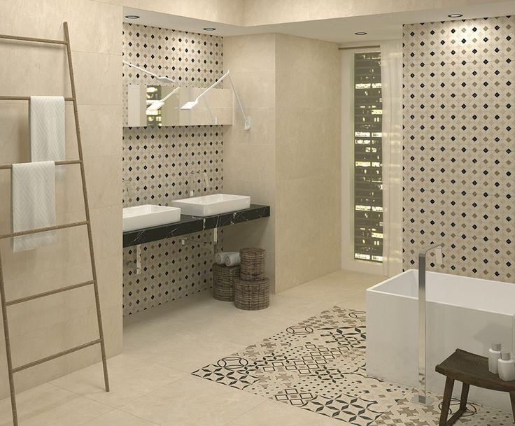 Wall tiles Janus Marfil 33,3x100  cm. | Palene Marfil 60x60 cm | Flooring | Arcana ceramica | covering | arcana tiles