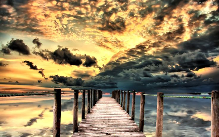 Morze, Zachód Słońca, Chmury, Molo