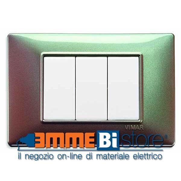 Placca 3 moduli marrone micalizzato Vimar Plana #vimar #seriecivile #plana #prezzoplacce #arredare #arredamento #design #illuminazione #interni #emmebistore