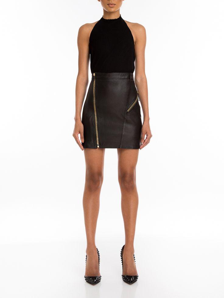 #Manokhi black leather skirt ,available online now on www.manokhi.com