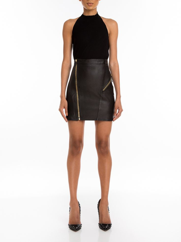 #Manokhi black leather skirt ,available online now on www.manokhi.com