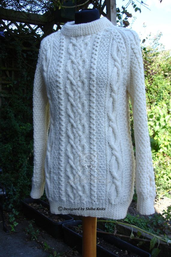 Cable Aran Jumper Cream Aran Sweater Cable Aran by ShibaKnits