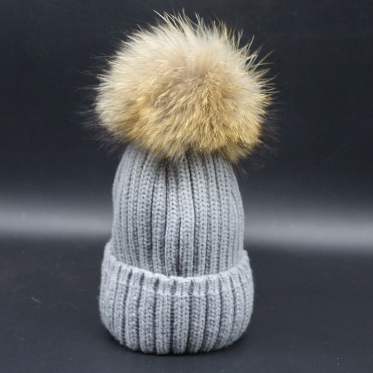 new arrival hot sell super big pom pom real raccoon fur knitted hat unisex super cute raccoon fur pom pom multi color hat