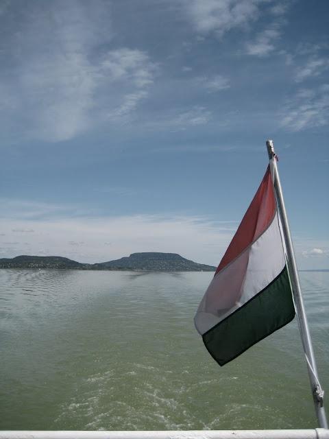 Hungarian flag on the ferry, Lake Balaton, Hungary