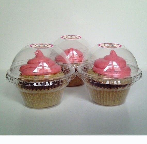 24 Clear Cupcake Favor Boxes Wedding Favor by CupcakePeddler
