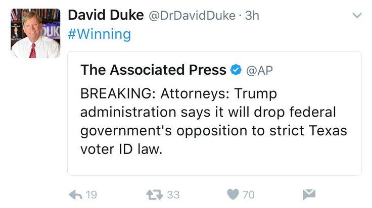 Former grand wizard of kkk just loves Trump!