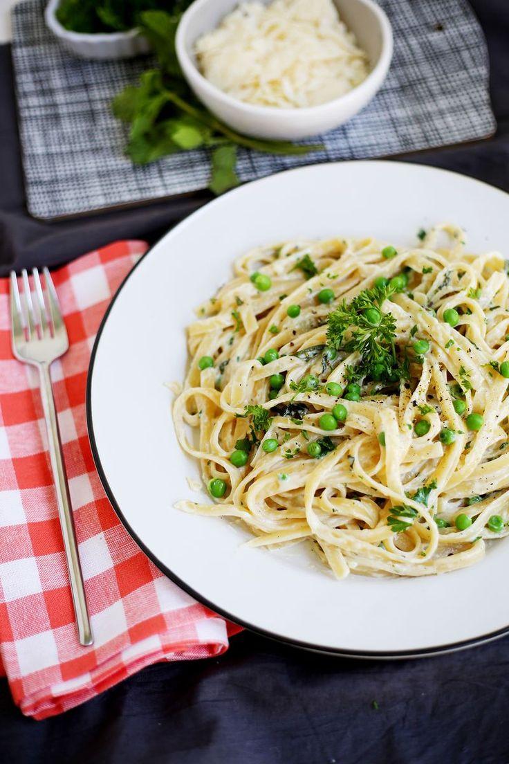 Creamy pea and fresh herb fettuccine (click through for recipe)