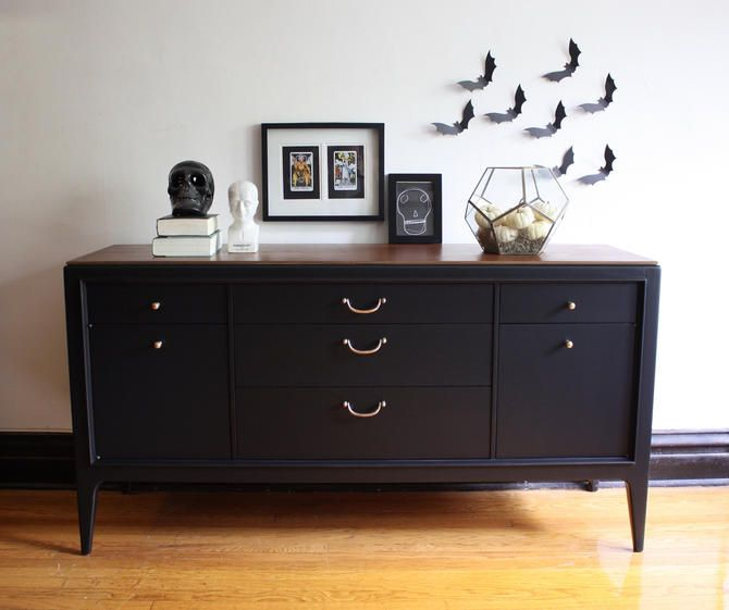 Black And Wood Mid Century Modern Credenza Vintage Mcm Media Console Modern Painted Dresser Refinished Credenza Sideboard Buffet By Ravenswoodrevival From Ra Vintage Credenza Mid Century Modern Credenza Refinished Vintage Furniture