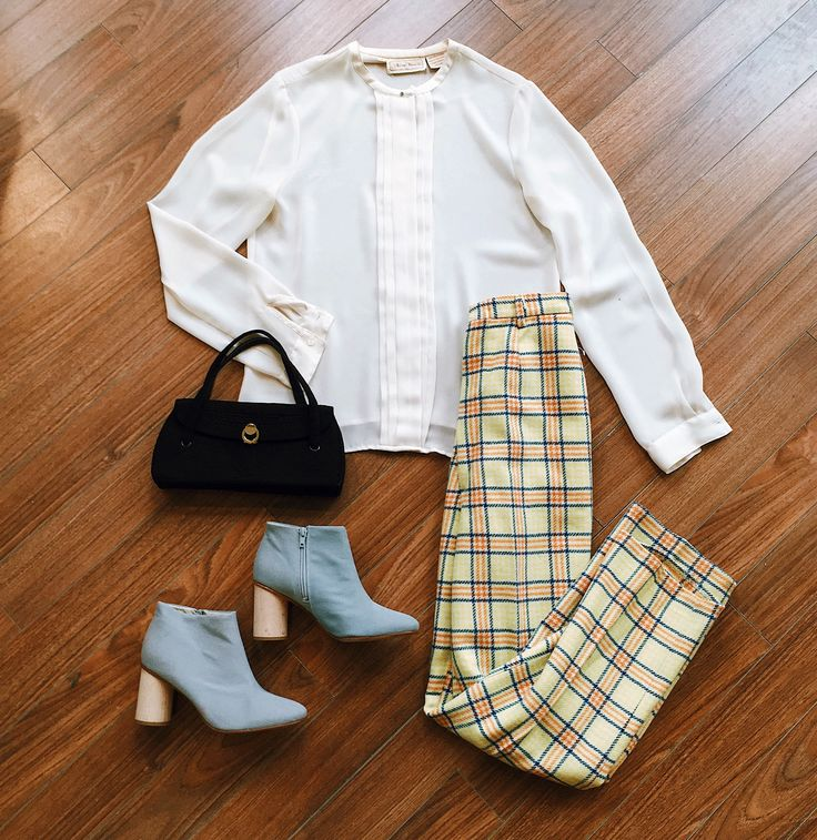 Found at Common Sort - vintage blouse, vintage trousers, vintage purse and COS boots