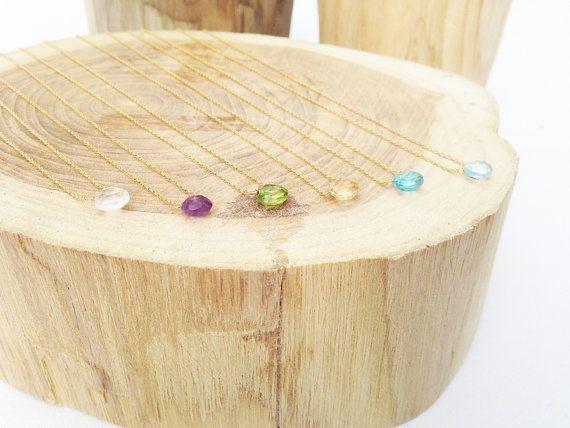Peridoot ketting augustus Birthstone goud door lolabeanjewelry