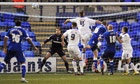 Portsmouth's Gabor Gyepes, third right, scores his side's first in the 2-2 draw at Tranmere Rovers