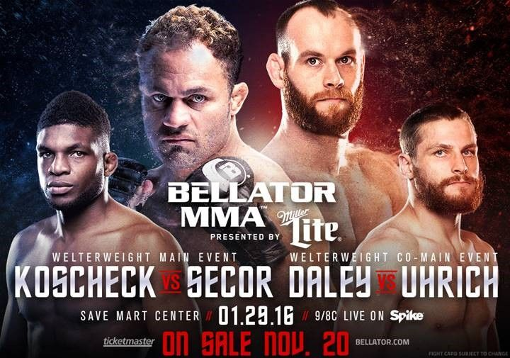 JOSH KOSCHECK MAKES BELLATOR MMA DEBUT AGAINST MATT SECOR IN MAIN EVENT OF BELLATOR 148 ON JANUARY 29 PAUL DALEY LOOKS TO CONTINUE WINNING WAYS AGAINST ANDY UHRICH IN CO-HEADLINER SANTA MONICA, Cal…